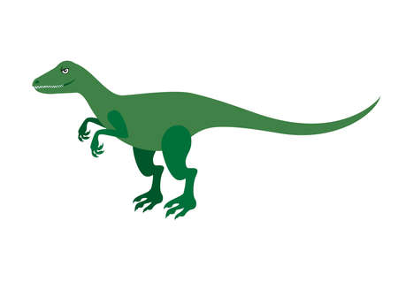 Funny green raptor icon vector. Velociraptor cartoon character. Green dinosaur vector icon isolated on a white background