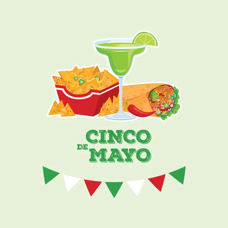Cinco de Mayo Mexican holiday with Mexican food and drink vector. Margarita drink, burrito and nachos icon vector. Cinco de Mayo Poster, May 5. Important day Vectores