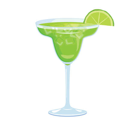Margarita drink with lime vector icon. Alcoholic cocktail icon vector. Glass of margarita vector. Green tequila drink icon isolated on a white background Vectores