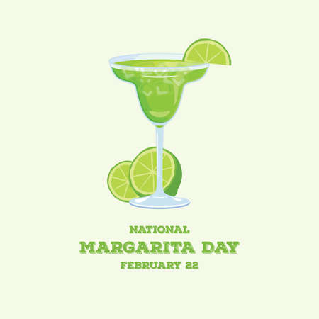 National Margarita Day vector. Margarita drink with lime vector icon. Green alcoholic cocktail icon vector. Glass of margarita vector. Margarita Day Poster, February 22. Important day Vectores