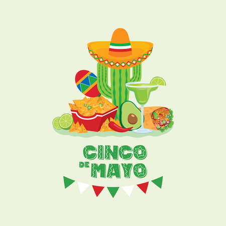 Cinco de Mayo Mexican holiday with Mexican food and drink vector. Mexican culture icon set vector. Cinco de Mayo Poster, May 5. Important day