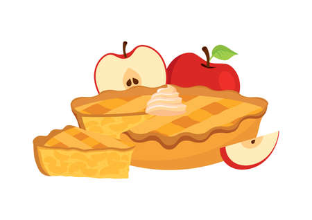 Sweet traditional Apple Pie with apples icon vector. Piece of apple pie icon vector. Cake with apples and whipped cream vector. Classic american sweet pie clip art isolated on a white background