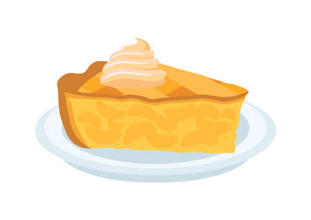 Piece of apple fruit cake with whipped cream vector. Sweet traditional Apple Pie on a plate icon vector. Piece of apple pie clip art isolated on a white background