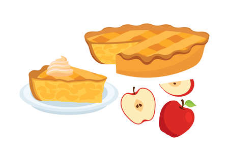 Sweet traditional Apple Pie with apples icon set vector. Piece of apple pie vector icons. Cake with apples and whipped cream vector. Classic american sweet pie clip art isolated on a white background