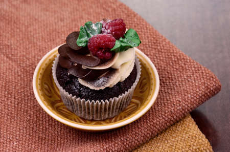 Chocolate vanilla cupcake with raspberries still life stock images. Delicious creamy cupcake with berries on the table stock photo. Fresh cupcake with berries close-up stock images Foto de archivo