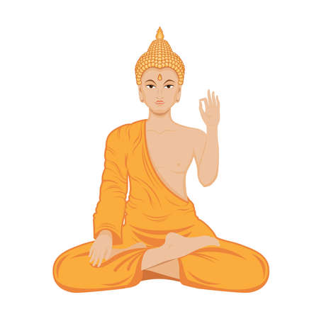 Sitting Buddha in lotus position vector. Buddha in orange robe icon isolated on a white background. Sitting Buddha in meditation icon vector