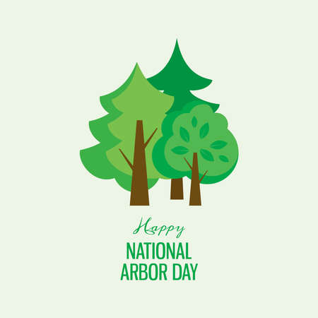 Happy National Arbor Day vector. Green silhouettes of trees icon vector. Group of different trees vector. Arbor Day Poster. Important day Vectores