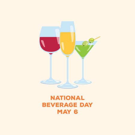 National Beverage Day Poster with different types of drinks vector. Drinking glasses with drinks icon. Beverage Day Poster, May 6. Important day