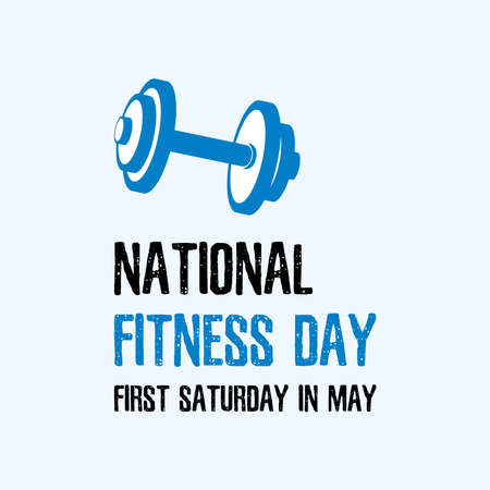 National Fitness Day vector. Dumbbell blue vector icon. Fitness Day Poster, first Saturday in May. Important day