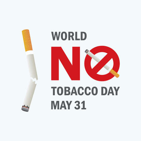 World No Tobacco Day vector. Crossed out cigarette vector icon. Stop smoking campaign. Broken cigarette vector. No smoke ban icon. No Tobacco Day Poster, May 31. Important day