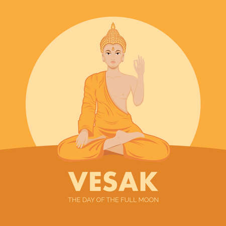 Vesak, the Day of the Full Moon vector. Sitting Buddha in lotus position vector. Buddhist holiday in May. Important day