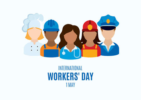 International Workers' Day Poster with man and woman worker vector. Professional man and woman occupation icon set vector. Various occupations icons. Different professions vector. 1 May, Important day Ilustracje wektorowe