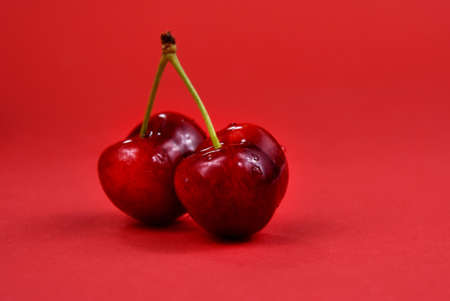 Fresh cherries on a red background stock images. Sweet cherry fruit berries detail photo images. Two ripe cherries isolated on a red background with copy space for text stock images