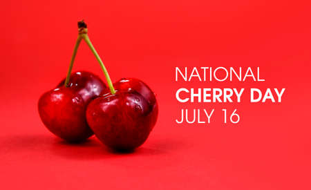 National Cherry Day stock images. Two ripe cherries isolated on a red background. Cherry Day Poster, July 16. Important day Imagens