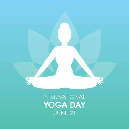 International Yoga Day Poster with woman in yoga position silhouette vector. Meditating woman icon vector. Young woman in sitting yoga lotus pose vector. June 21, Important day