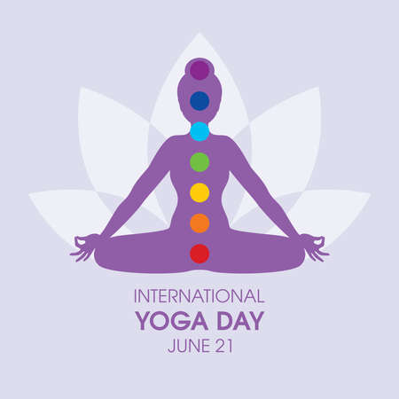 International Yoga Day Poster with woman in yoga position silhouette vector. Meditating woman with chakras icon vector. Young woman in sitting yoga lotus pose vector. June 21, Important day