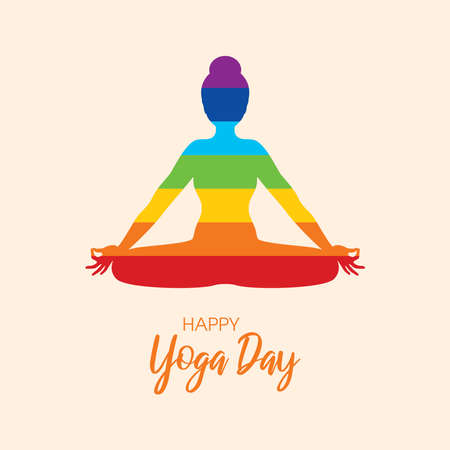 International Yoga Day Poster with woman in yoga position silhouette vector. Meditating woman with chakras icon vector. June 21, Important day