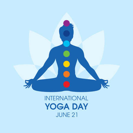 International Yoga Day Poster with man in yoga position silhouette vector. Meditating man with chakras icon vector. June 21, Important day