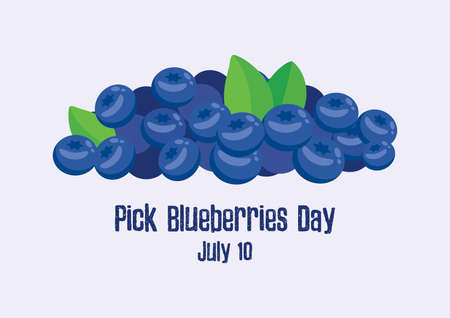 Pick Blueberries Day vector. Pile of ripe blueberries vector. Blueberry Picking Day, July 10. Important day