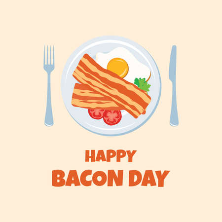 Happy Bacon Day vector. Bacon and egg on a plate top view icon vector. Important day