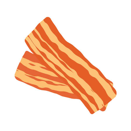 Two slices of fried bacon icon vector. Bacon icon isolated on a white background. Crispy bacon strip vector Ilustração