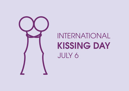 International Kissing Day vector. Kissing stick figure icon vector. Cute couple silhouette icon vector. Stickman in love clip art. Kissing Day Poster, July 6. Important day