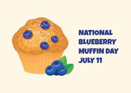 National Blueberry Muffin Day vector. Delicious blueberry muffin icon vector. Blueberry Muffin Day Poster, July 11. Important day Ilustração