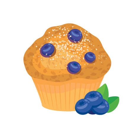 Delicious blueberry muffin icon vector. Fresh muffin with blueberries icon isolated on a white background Ilustração