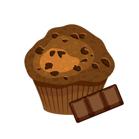 Delicious chocolate muffin pastry with chocolate cubes pieces icon vector. Fresh muffin with chocolate bar icon isolated on a white background