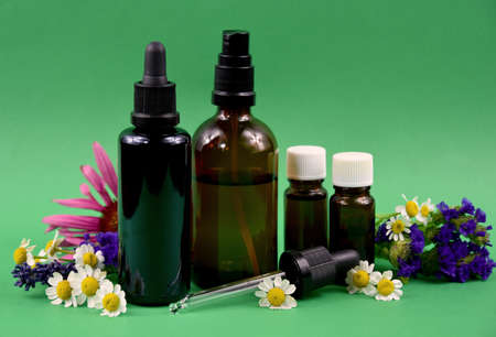 Glass brown cosmetic bottles with flowers and herbs stock images. Vial with essential oil and flower extract still life stock photo. Spa and wellness setting images