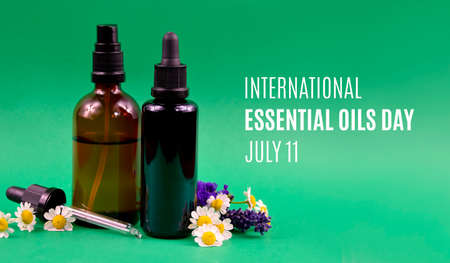 International Essential Oils Day stock images. Glass brown cosmetic bottles with flowers and herbs extract stock images. Essential Oils Day Poster, July 11. Important day