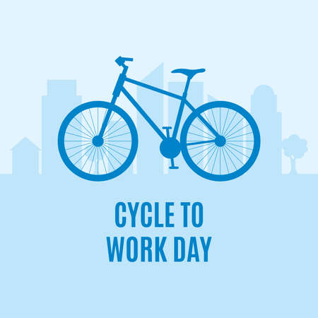 Cycle to Work Day vector. Blue bicycle icon vector. Bike silhouette icon isolated on a blue city skyline background. Important day Ilustração