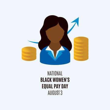 National Black Women's Equal Pay Day vector. African american woman avatar head icon vector. Black woman and money vector. Important day Ilustração