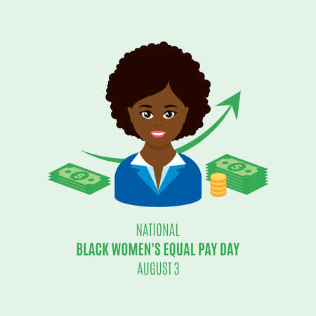 National Black Women's Equal Pay Day vector. African american office woman avatar head icon vector. Black business woman and money dollar vector. Important day
