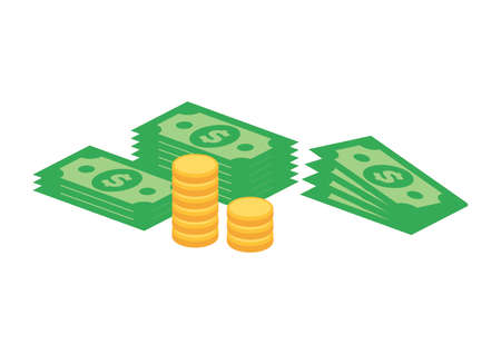 Pile of dollar cash money and golden coins icon vector. Money dollar currency clip art. Green banknotes dollars and gold coins vector. Heaps of money icon isolated on a white background