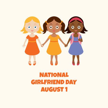 National Girlfriend Day vector. Cute little girls holding hands vector. Three little schoolgirls cartoon character. Girlfriend Day Poster, August 1. Important day