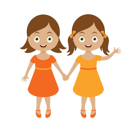 Two cute little girls holding hands icon vector. Two adorable sisters girls cartoon character. Happy little girls in orange dress icon isolated on a white background