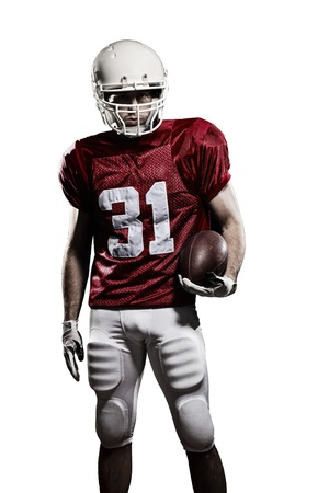 football american: Football Player with a red uniform and a ball in the hand on a white background.