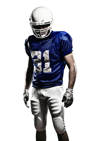 Football Player with a blue uniform on a white background.