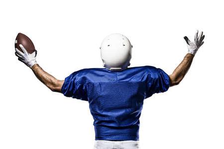 futbolista: Jugador de f�tbol con un uniforme azul de la celebraci�n en un fondo blanco.