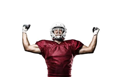 Football Player with a Red uniform celebrating on a White background.