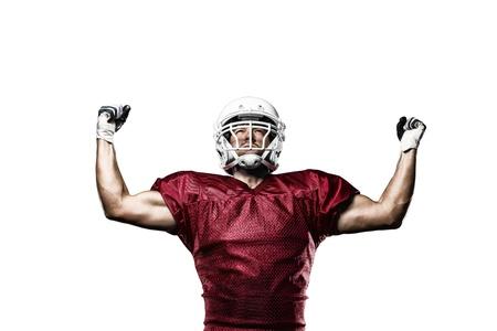 jugador de futbol: Jugador de f�tbol con un uniforme rojo de la celebraci�n en un fondo blanco.