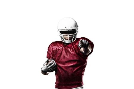 futbolista: Jugador de f�tbol con un uniforme rojo de la celebraci�n en un fondo blanco.