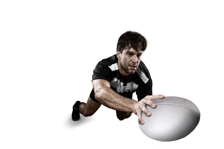 Rugby player in a Black and white uniform photo