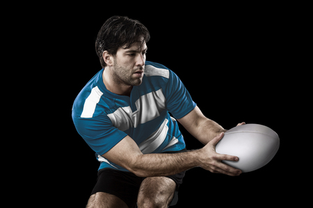 Rugby player in a blue uniform