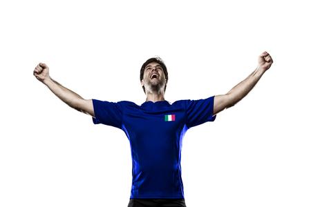 Italian soccer player, celebrating on a white background. Stock Photo - 25874548