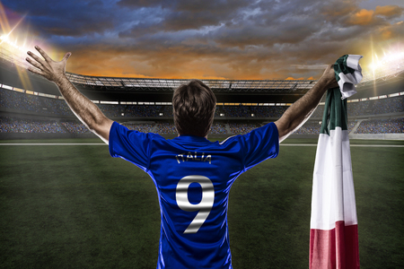 Italian soccer player, celebrating with the fans. Reklamní fotografie