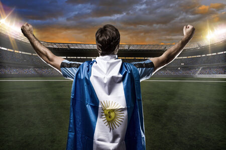 Argentinian soccer player, celebrating with the fans. Stock Photo