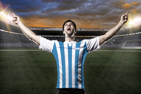 Argentinian soccer player, celebrating with the fans. Reklamní fotografie