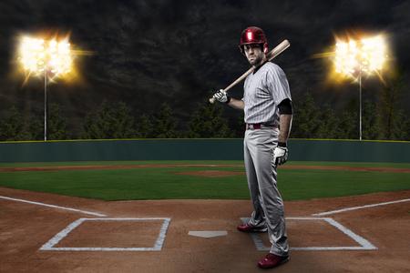 Baseball Player on a baseball Stadium. photo
